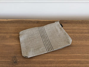 Linen Pouch, Natural + Black