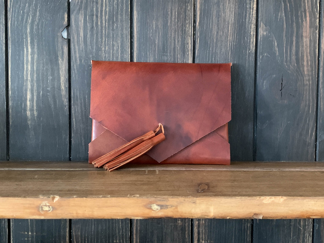 The Tassel Envelope Clutch - Whiskey