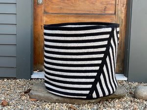 Point Striped Basket - Black and Grey