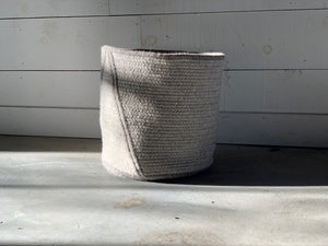 Point Natural Wool Light & Dark Grey Basket