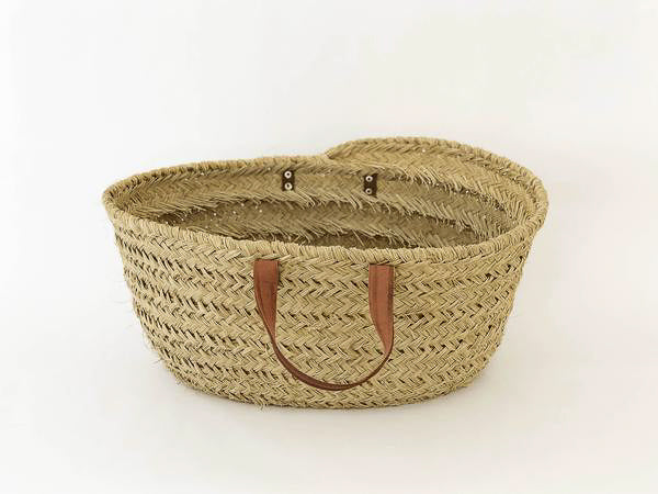 Woven Grass Basket with Leather Handles