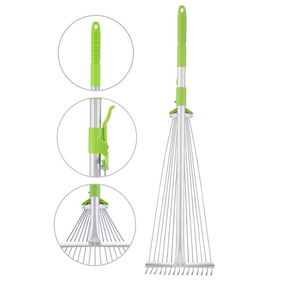 61 Inch Adjustable and Telescopic Metal Rake Aluminum Hand