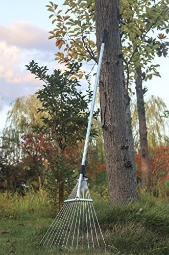 Garden Lawn Leaf Rake 58.3 Inch Adjustable Metal Rake (Plastic Buckle)