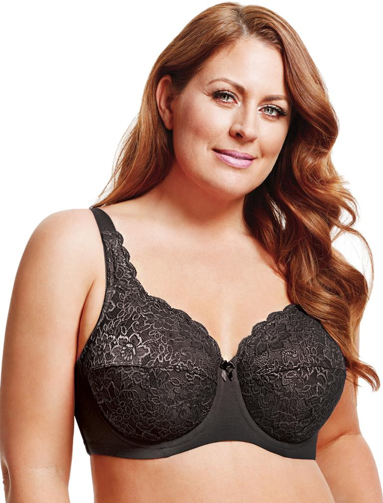 ELILA 2311 STRETCH LACE UNDERWIRE FULL CUP BRA
