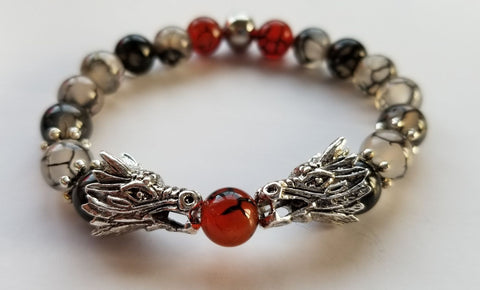Dragon Energy Bracelet - Black Dragon Vein Agate Genuine Gemstones