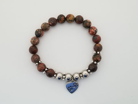 "Jaguar Jasper Gemstone Bracelet with Pawprint Heart to benefit the animals of ""ACCT Philly"""