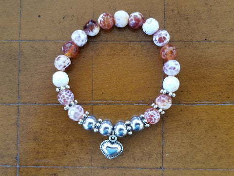 "Fire Crackle Agate Gemstone Bracelet with Silver Heart to benefit ""Cuddle My Kids"""