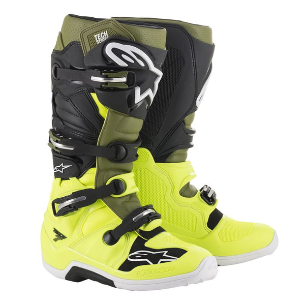 Alpinestars Tech 7 Yellow Flo/Military Green/Black Boot