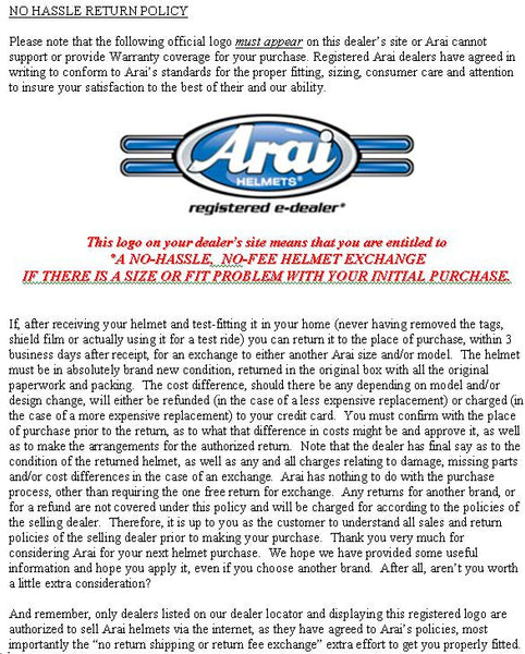 Arai - Return policy