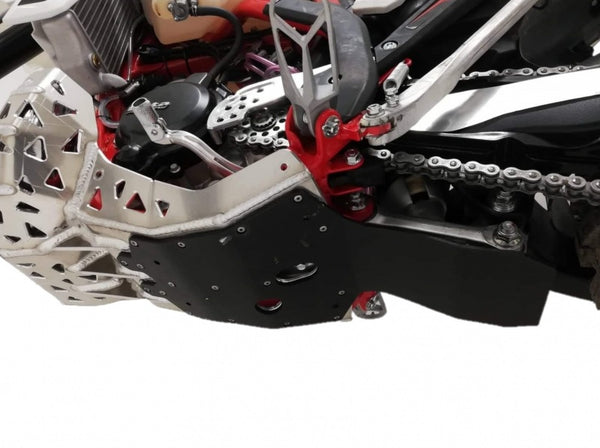 P-Tech Beta 200RR (20-) Aluminum Skid Plate with Pipe & Linkage Guard - Silver