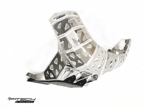P-Tech Beta 300RR|250RR (19-) Aluminum Skid Plate with Pipe & Linkage Guard - Silver