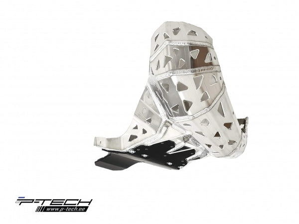 P-Tech Beta 200RR (19) Aluminum Skid Plate with Pipe & Linkage Guard - Silver