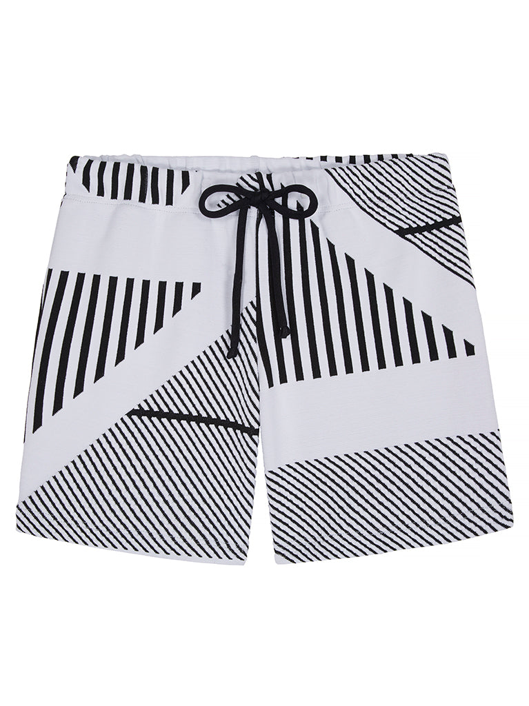 Black and White Linear boys swim shorts