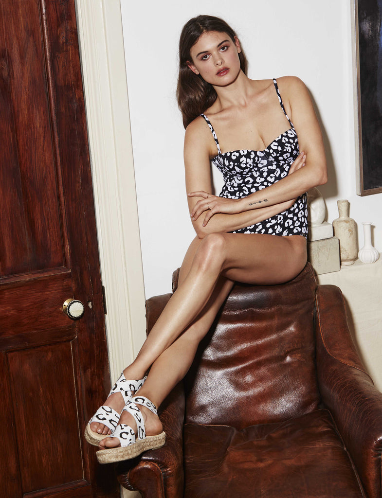 Black and White Leopard Sandals
