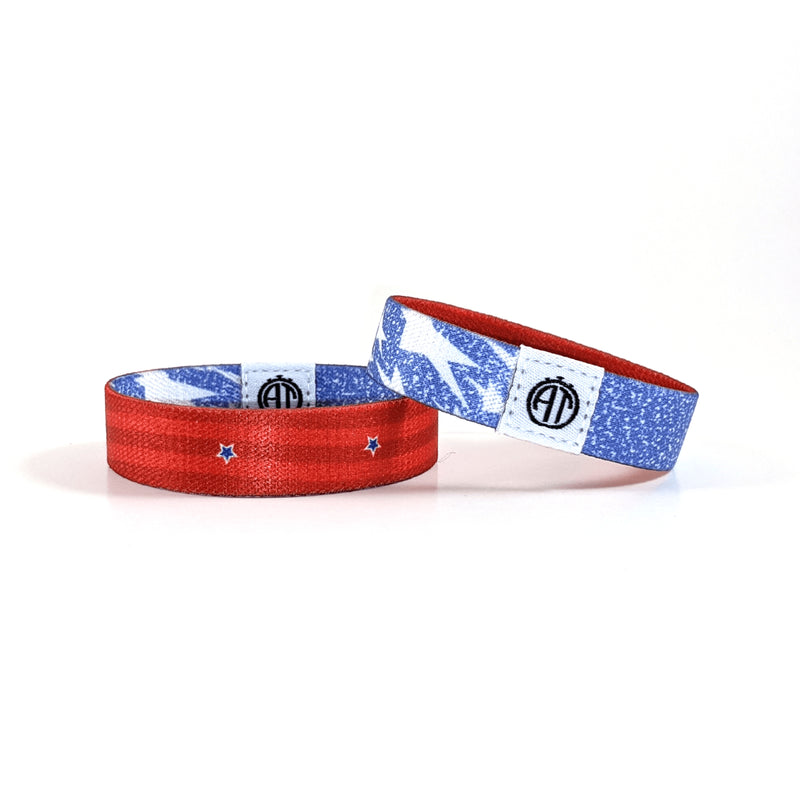 Red White and Denim Wristband
