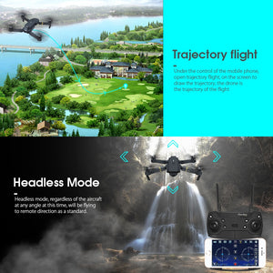 Black Wasp HD Foldable Air Selfie Drone - 2MP & 2 Battery Version