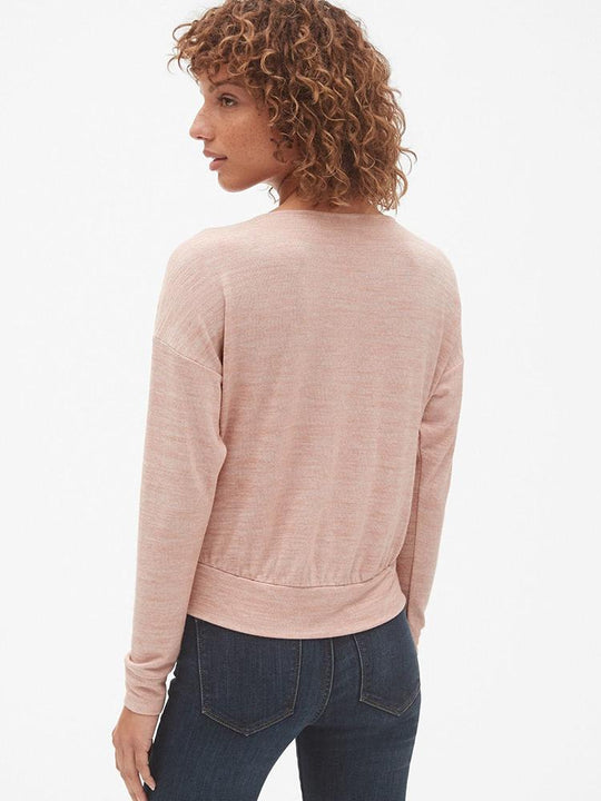 Softspun Long Sleeve Wrap-Front Top