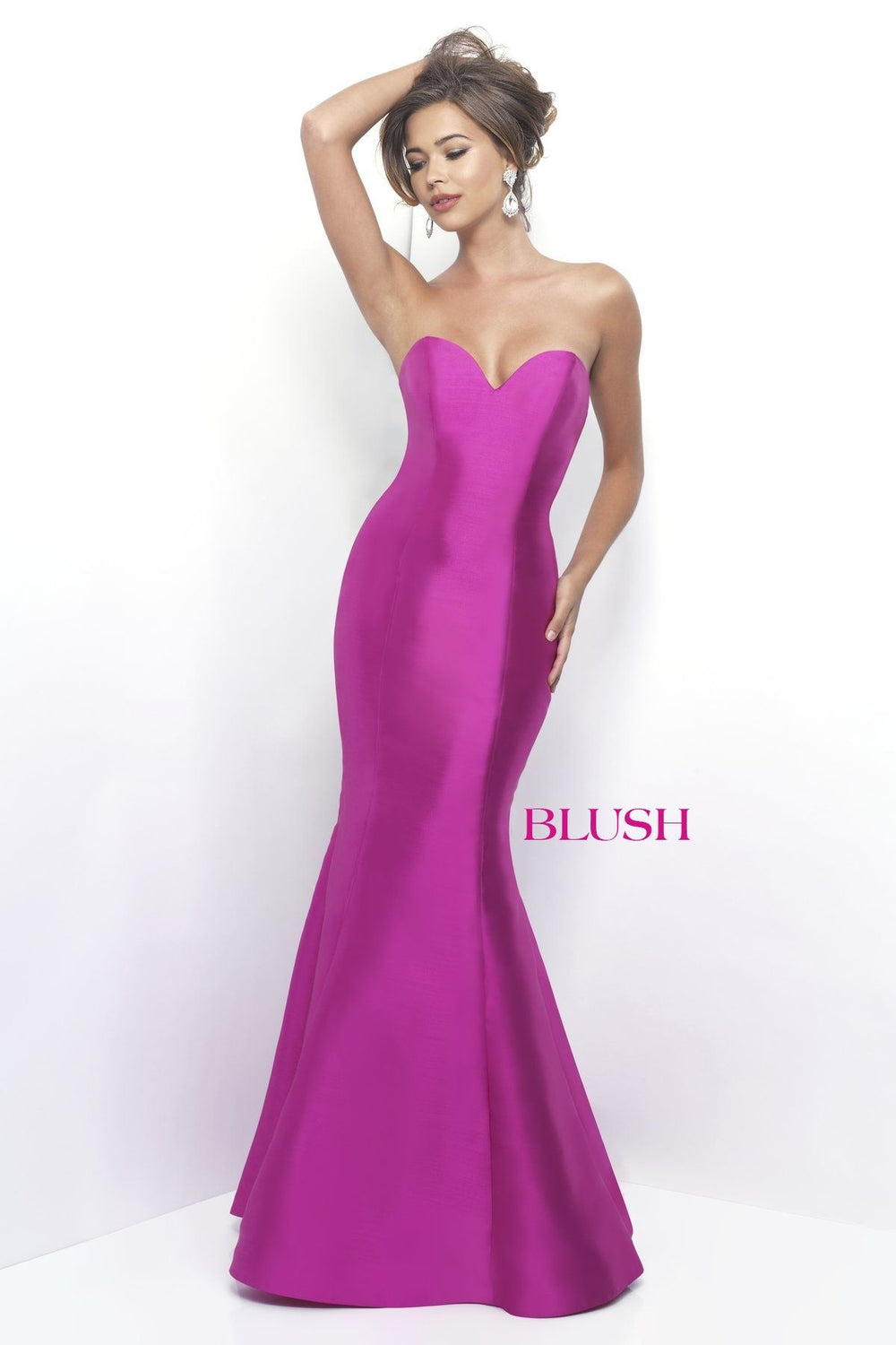 Strapless Ruffle Back Gown