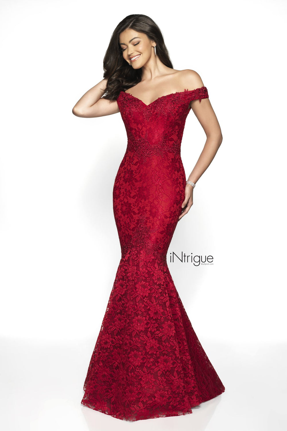 Off-Shoulder Mermaid Gown - Red