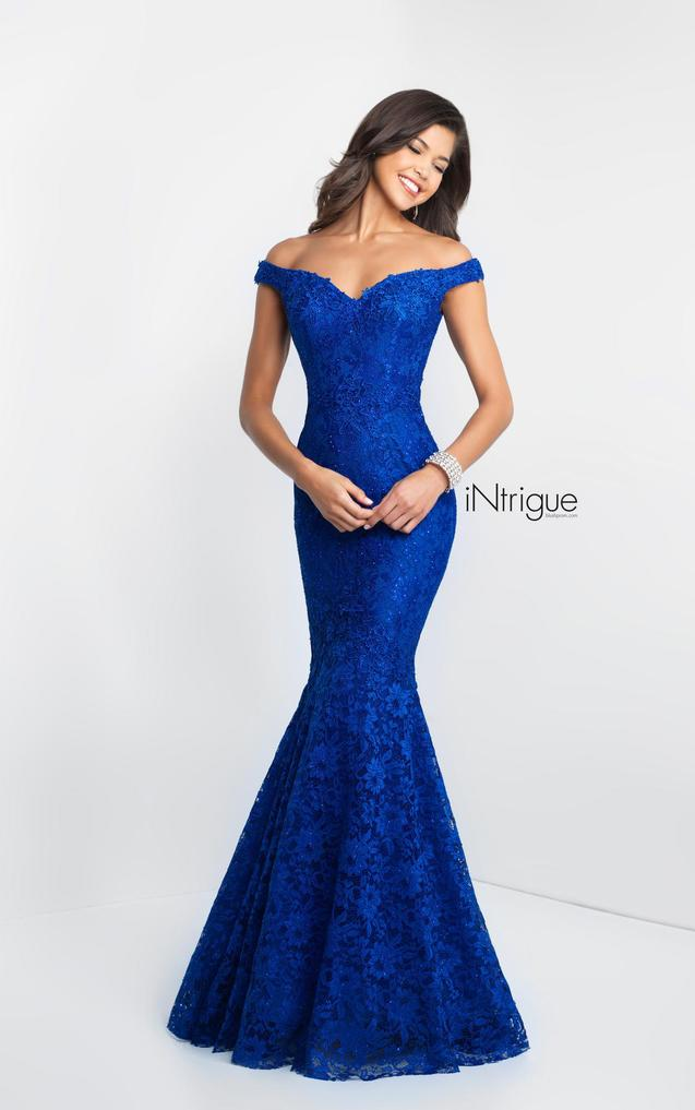 Off-Shoulder Mermaid Gown - Sapphire