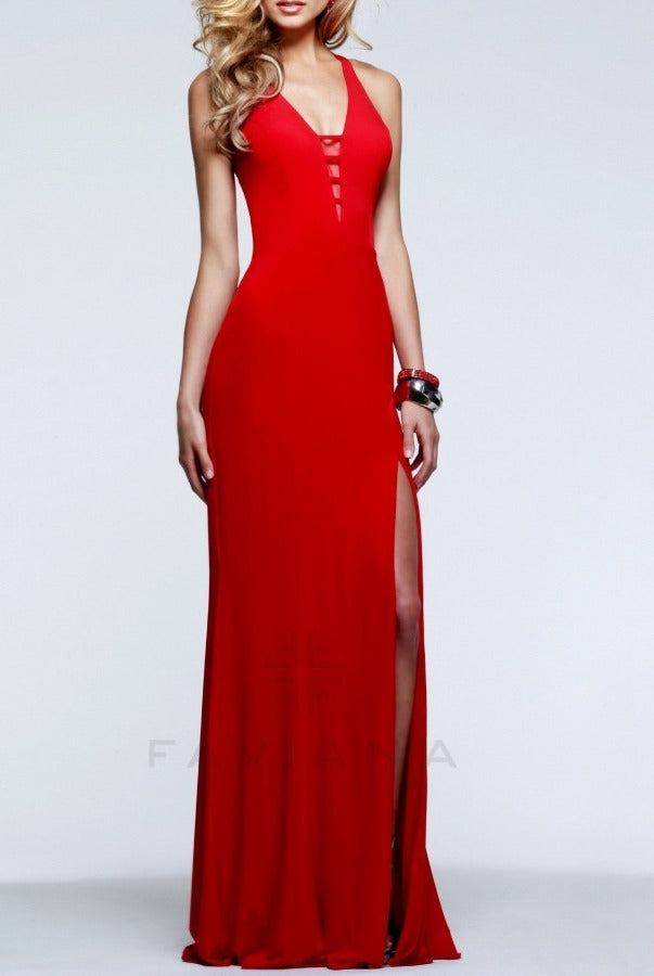 V-Neck Evening Gown - Red