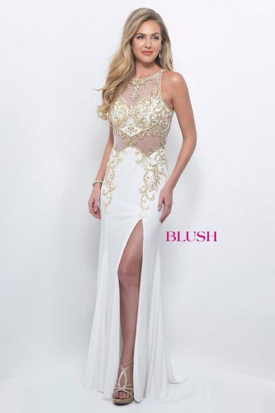 Beaded Illusion Gown-W