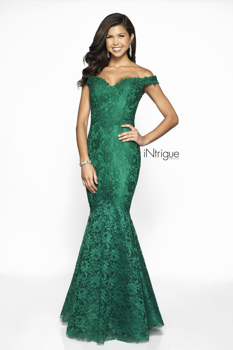 Off-Shoulder Mermaid Gown - Green