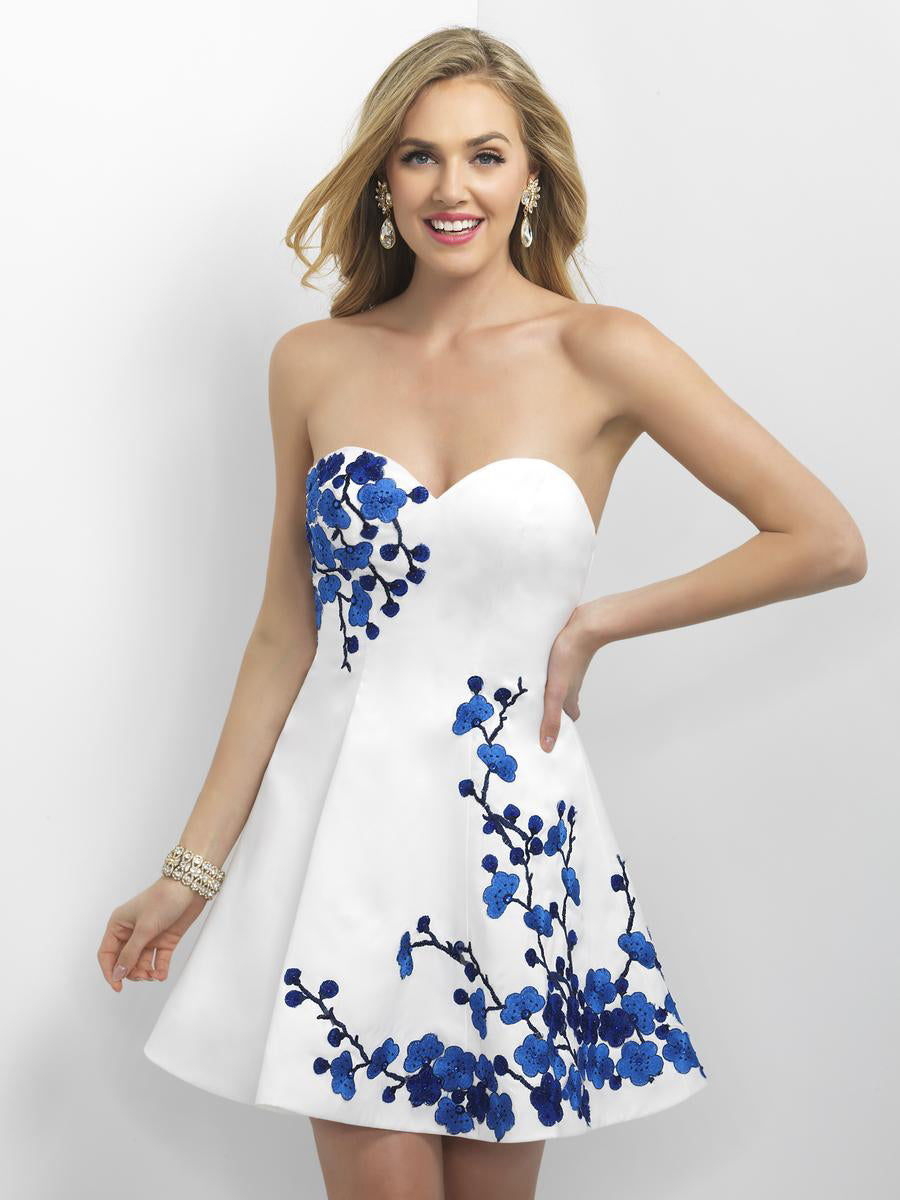 Strapless Embroidered Cocktail Dress