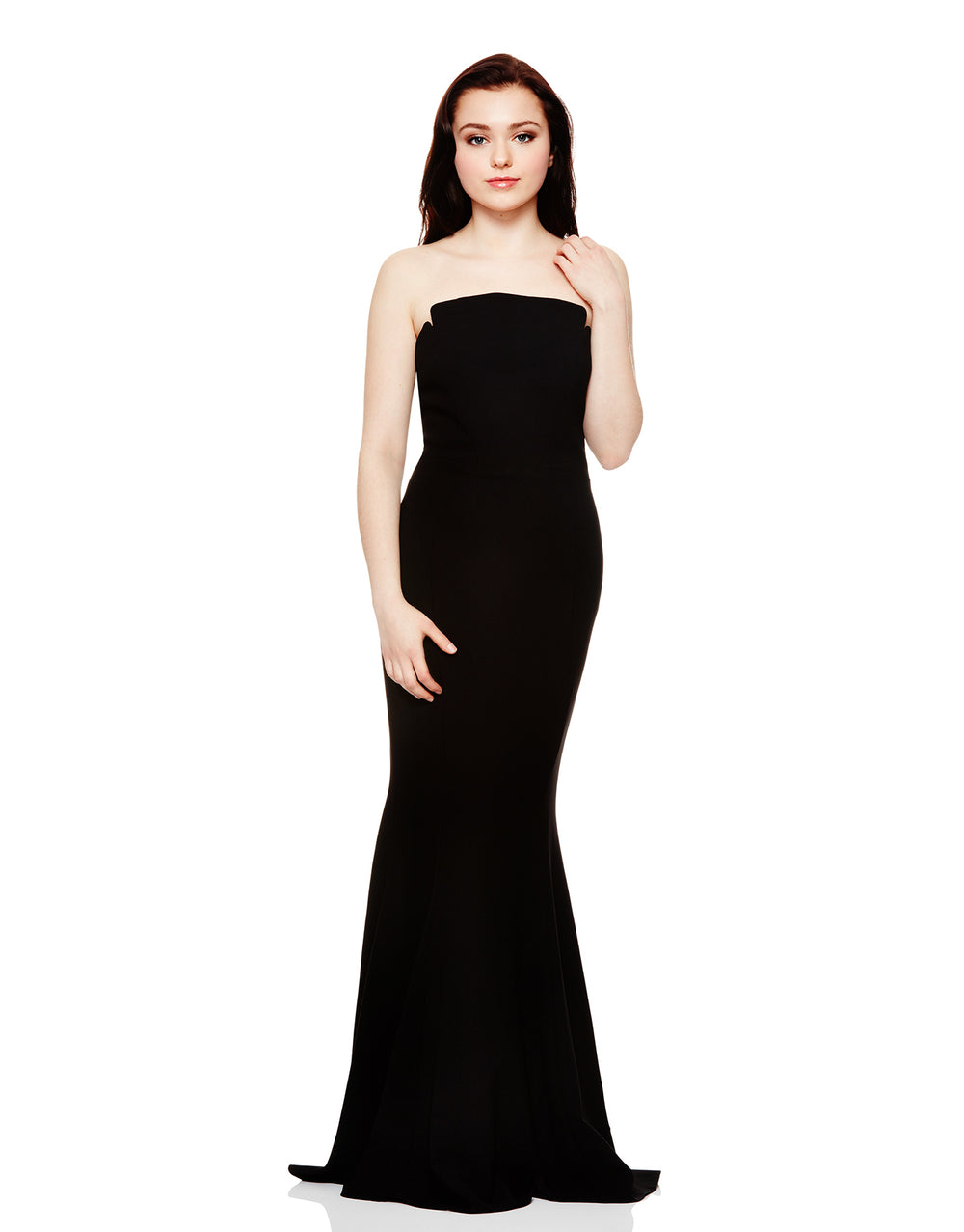Notched Strapless Dress