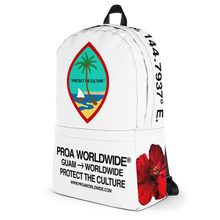 Load image into Gallery viewer, Proa Worldwide Streetwear Guam Seal Protect the Culture White Backpack