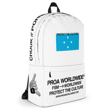 Load image into Gallery viewer, Proa Worldwide Streetwear FSM Micronesia Chuuk Pohnpei Kosrae Yap Protect the Culture White Backpack