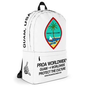 Proa Worldwide Streetwear Guam Seal Protect the Culture White Backpack