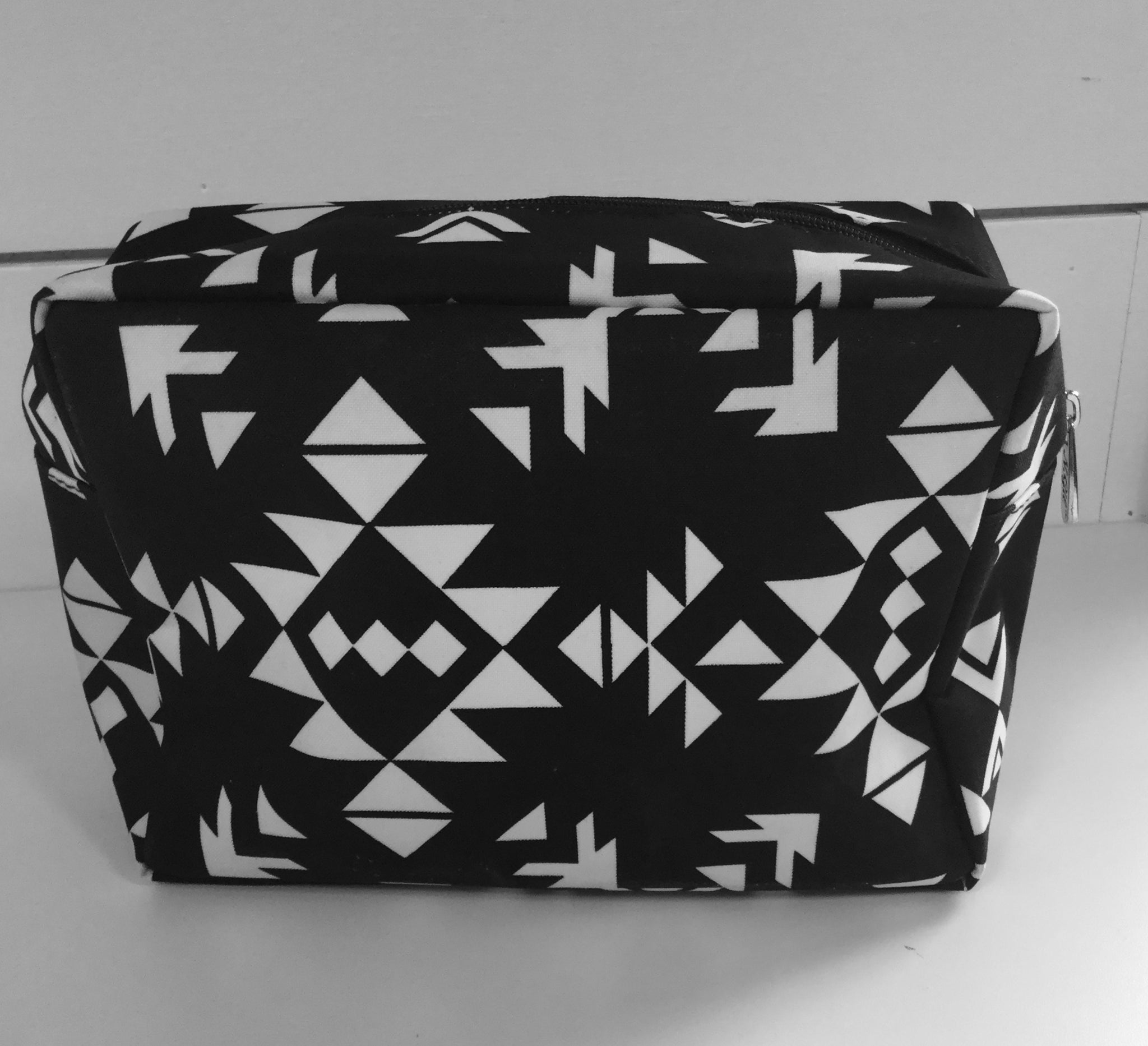 Small Black and White Aztec Print Travel Case
