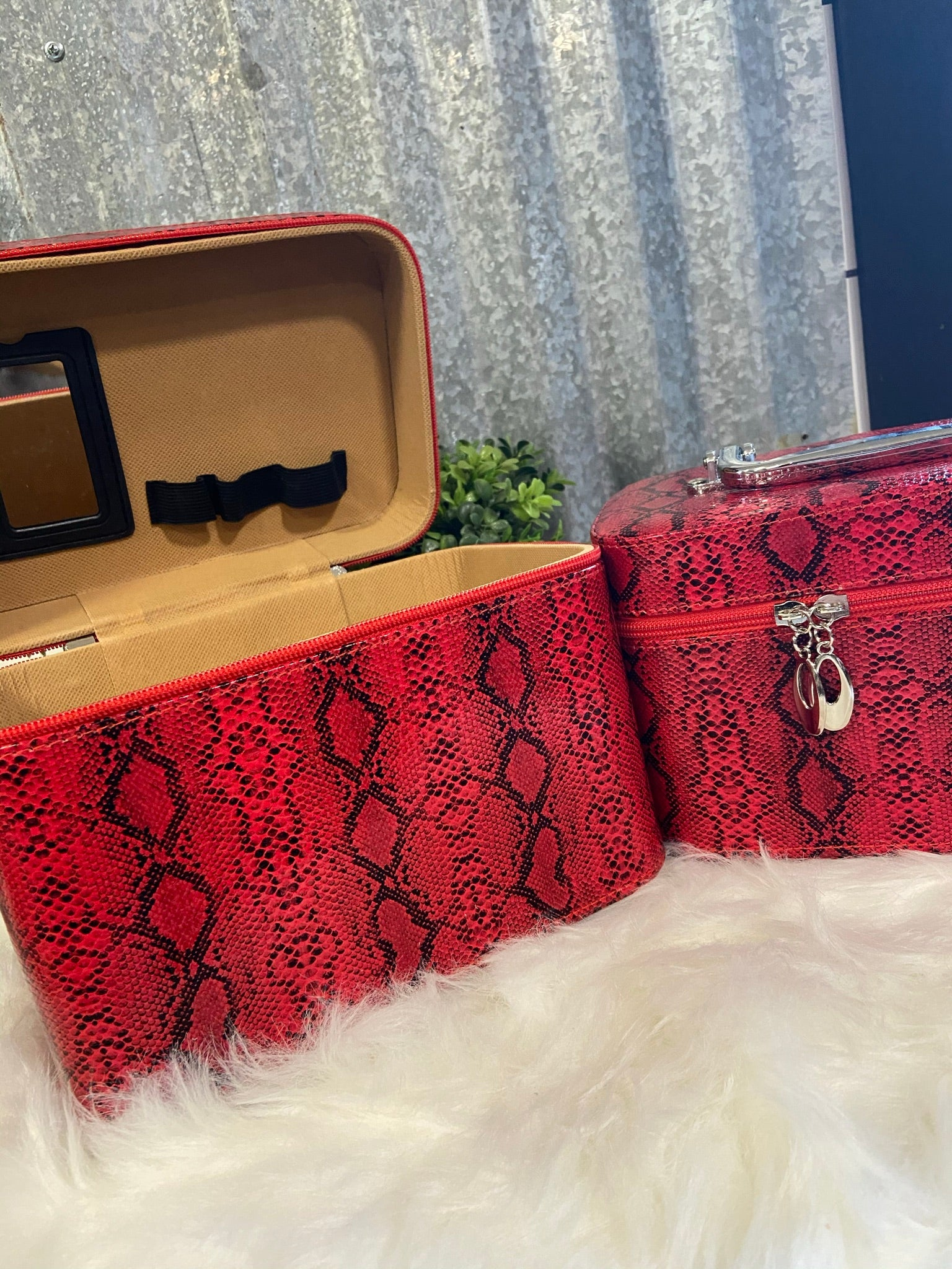 Red Snake Skin Hard Travel Case