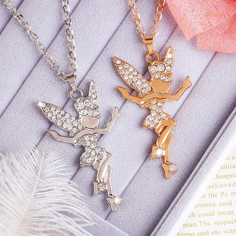 Necklace - Rhinestone gelfling long necklace - Gifts for lovers of All Things with Wings