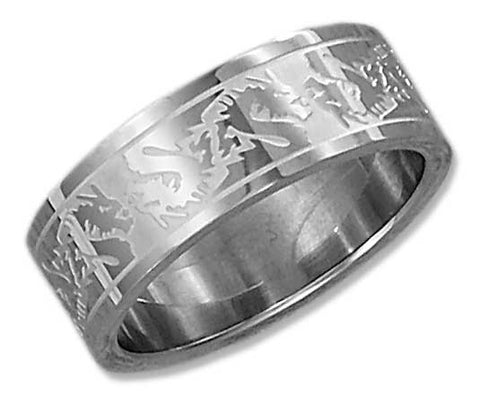 stainless steel band ring with dragon etching