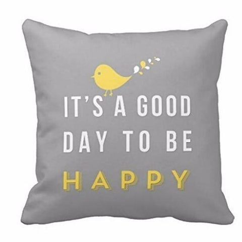 Pillow Case - Happy yellow bird square cushion cover - Gifts for lovers of All Things with Wings