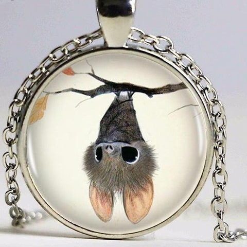 Necklace - Cute hanging bat long necklace - Gifts for lovers of All Things with Wings