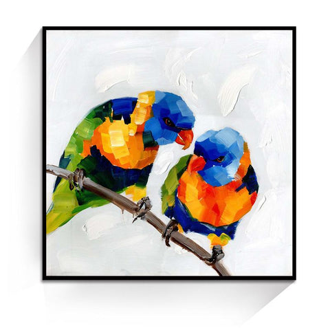 Oil Painting - Birds of a feather rainbow lorikeets - Gifts for lovers of All Things with Wings