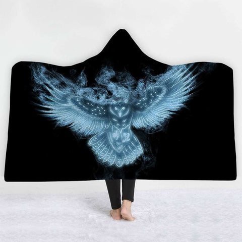 Blanket - Plush with a hood and an owl in flight pattern - Gifts for lovers of All Things with Wings