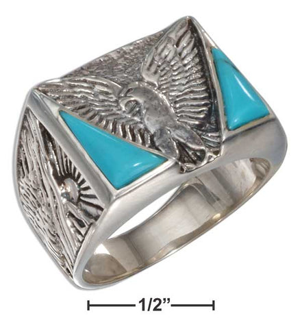 turquoise silver eagle ring