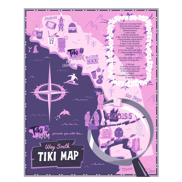 Way South Tiki Map Poster