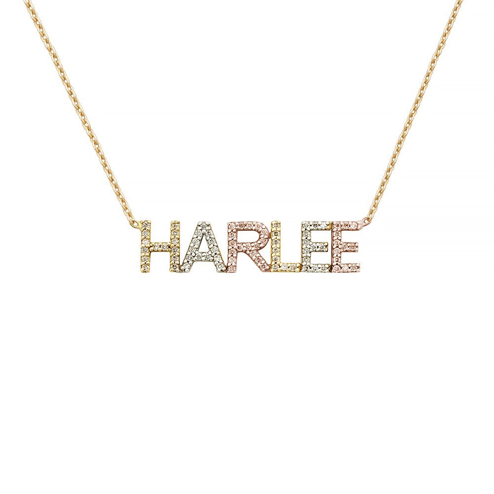 14K TRI COLOR BLOCK LETTER NECKLACE