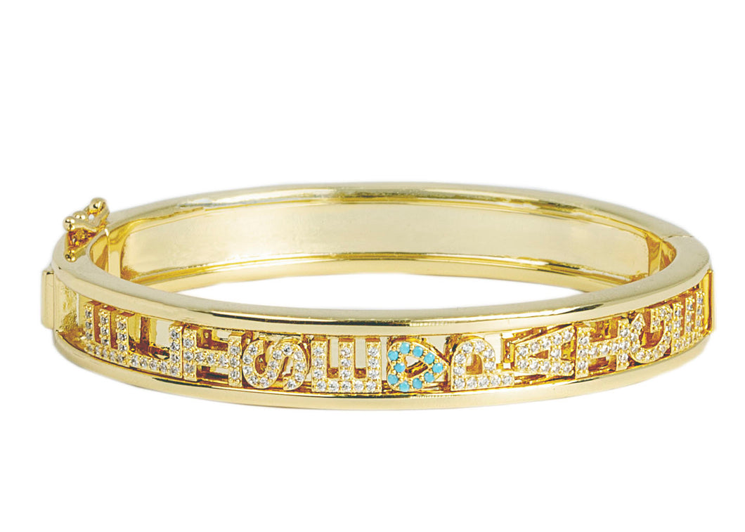 Gold Charm Bangle Large