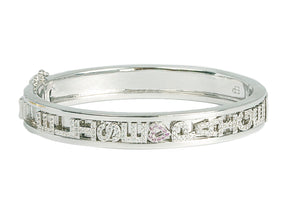 White Gold Charm Bangle Medium
