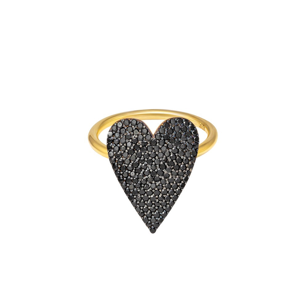 BLACK PAVE DIAMOND HEART RING
