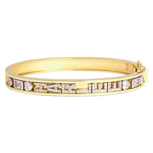 14K SMALL SKINNY SILVER BANGLE (YELLOW)