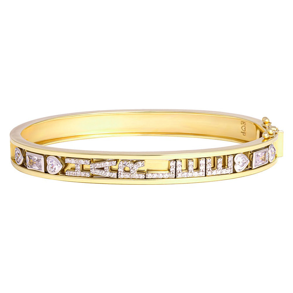 SMALL SKINNY SILVER BANGLE (YELLOW)