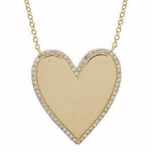 14K DIAMOND BOARDER  HEART ENGRAVE NECKLACE