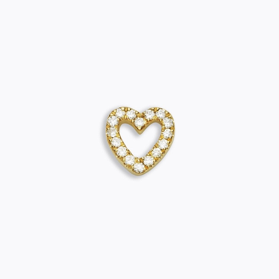 SKINNY SILVER DIAMOND HEART (YELLOW)